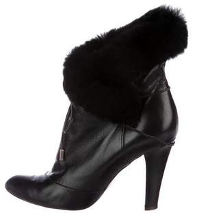 Marc Jacobs Leather Fur-Trimmed Boots