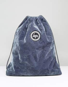 Hype Exclusive Gray Velvet Drawstring Backpack