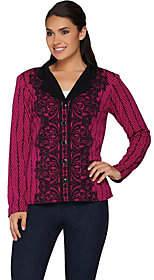 Bob Mackie Bob Mackie's Placement Print Lace Knit Jacket