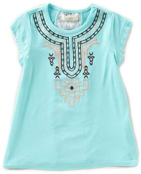 Jessica Simpson Little Girls 2T-6X Embroidered Cap-Sleeve Top