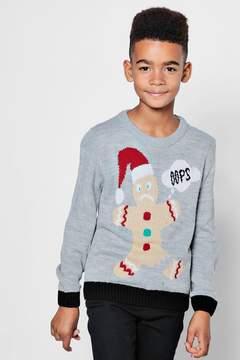 boohoo Boys Christmas Gingerbread Man Jumper