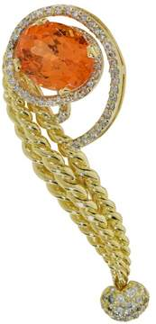 David Webb 18K Yellow Gold Garnet & Diamond Pin Brooch