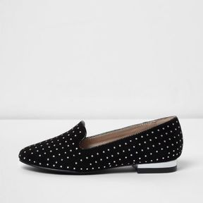 River Island Girls black studded low block heel loafers