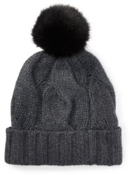 Ralph Lauren Rope Cable-Knit Pom-Pom Hat Antique Hthr One Size