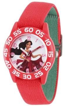 Disney Elena of Avalor, Elena Girls' Red Plastic Time Teacher Watch, Reversible Red and Green Nylon Strap