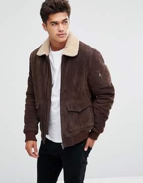 Bellfield Suede Jacket With Fleece Collar