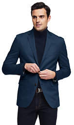 Lands' End Men's Tailored Fit Chino Blazer-Navy Plaid