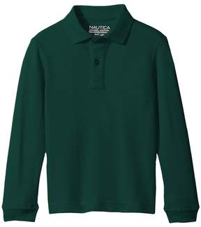Nautica Husky Long Sleeve Pique Polo Boy's Long Sleeve Pullover