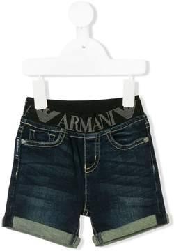 Emporio Armani Kids logo band denim shorts