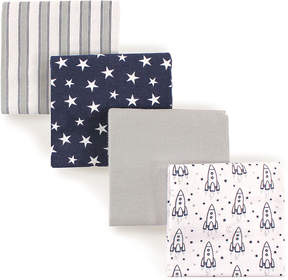 Hudson Baby Outer Space Flannel Receiving Blankets - Set of Four