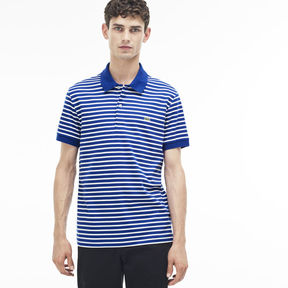 Lacoste Men's Regular Fit Striped Pima Cotton Polo - Seaweed Mask Green