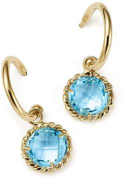 Bloomingdale's Blue Topaz Drop Hoop Earrings in 14K Yellow Gold - 100% Exclusive