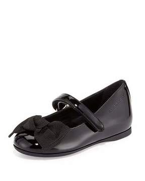 Burberry Trixie Patent Leather Mary Jane Flat, Black, Toddler