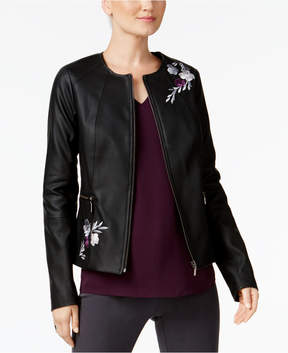 Alfani Embroidered Faux-Leather Jacket, Created for Macy's