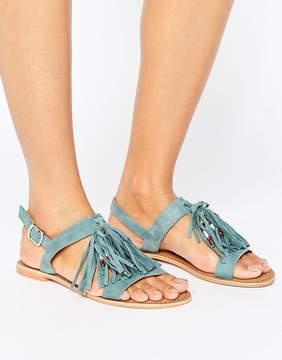 Glamorous Multi Tassle Teal Suede Flat Sandals