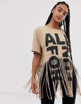 Pull&Bear Organic Cotton Fringe Tshirt