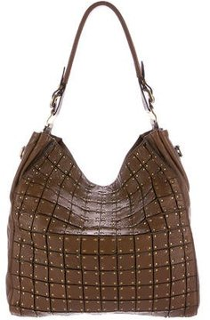 Burberry Square Leather Appliqué Tote - BROWN - STYLE