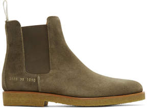 Common Projects Green Waxed Suede Chelsea Boots