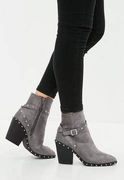 Missguided Silver Studded Western Ankle Boot