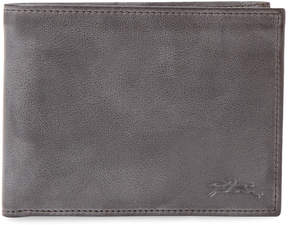 Longchamp Women's Distressed Leather Bifold Wallet - BLACK - STYLE