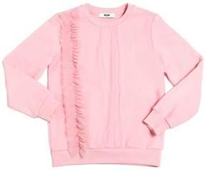 MSGM Cotton Sweatshirt W/ Tulle Details