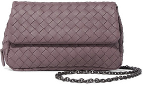 Bottega Veneta - Messenger Mini Intrecciato Leather Shoulder Bag - Purple