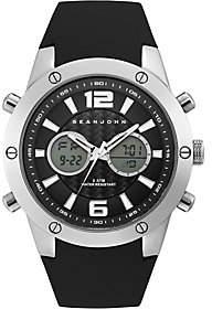 Sean John Men's Silvertone Analog Digital BlackSilicone Watch