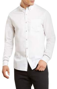 Kenneth Cole New York Constrast Stitching Long-Sleeve Stretch Shirt - Men's