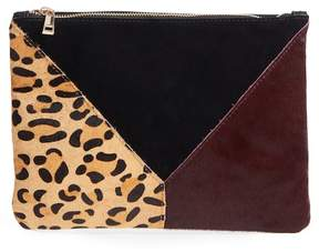 Sole Society Shailey Patchwork Genuine Calf Hair Clutch