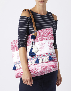 Mia Printed Beach Tote Bag