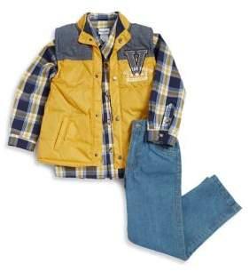 Nannette Little Boy's Three-Piece Tri-Tone Vest, Button-Down Shirt and Denim Jeans Set