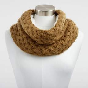 World Market Ochre Chunky Knit and Faux Sherpa Snood Scarf
