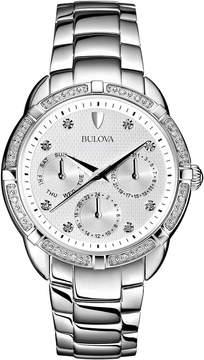 Bulova 36mm Chronograph Bracelet Watch w/ Diamonds, Silver