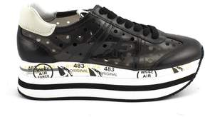 Premiata Beth Sneaker In Black Leather And Perforated Trasparent Vinyl