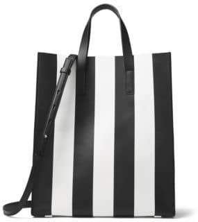 Michael Kors Striped Leather Tote - OPTIC WHITE - STYLE