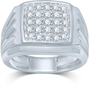 JCPenney FINE JEWELRY Mens 1/2 CT. T.W. Diamond 10K White Gold Square Top Ring