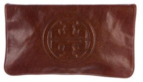Tory Burch Leather Reva Clutch - BROWN - STYLE