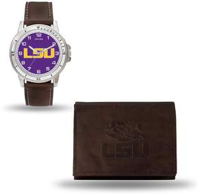Rico NCAA Team Logo Watch and Wallet Combo Gift Set in Brown - LSU