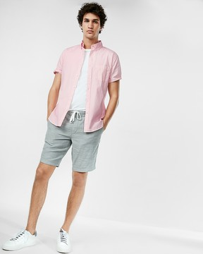 Express Slim Garment Dyed Button-Down Short Sleeve Shirt
