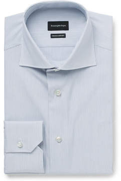 Ermenegildo Zegna Blue Slim-Fit Cutaway-Collar Striped Cotton-Poplin Shirt