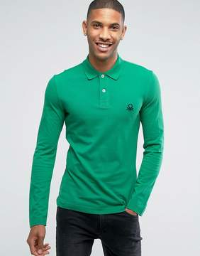 Benetton Muscle Fit Long Sleeve Polo Shirt In Green