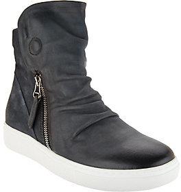 Miz Mooz As Is High_Top Leather Zip-up Sneakers - Lavania
