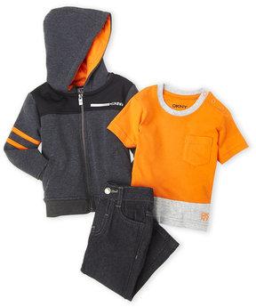 DKNY Infant Boys) 3-Piece Zip-Up Hoodie & Jeans Set