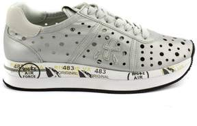 Premiata Conny Perforated Sneaker In Silver-tone Leather