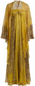 Etro Paisley-print embellished silk-georgette gown