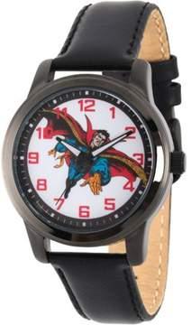 Marvel Marvel's Comics: Dr. Strange Men's Black Alloy Watch, Black Leather Strap