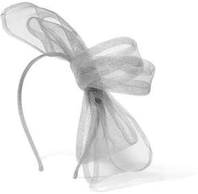 Maison Michel Angie Tulle-trimmed Grosgrain Headband - Silver