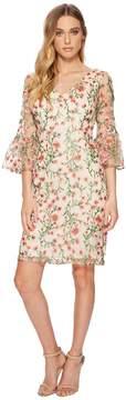 Adrianna Papell Floral Vines Bell Sleeve Dress Women's Dress