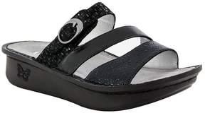 Alegria Women's Colette Leather Triple Banded Buckle Slide On Sandals