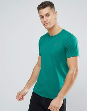 Hollister Slim Fit Core T-Shirt Seagull Embroid Logo in Green